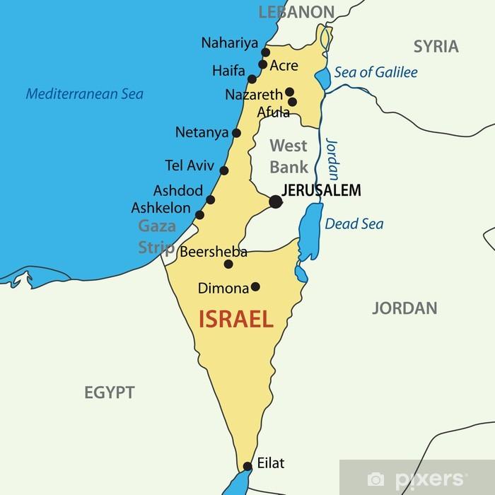 Fototapeta winylowa Państwo Izrael - vector map - Tematy