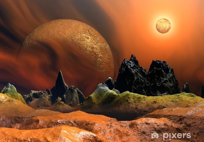 Vinylová fototapeta Alien Planet s Měsíce a Slunce - Vinylová fototapeta