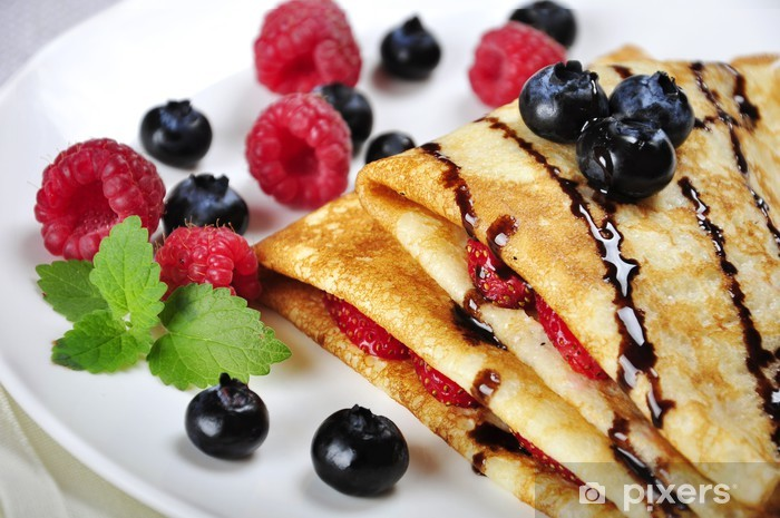 Pancakes sereved with raspberries Pixerstick Sticker - Sweets and Desserts