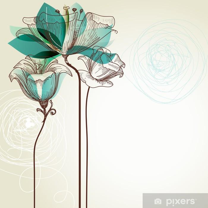 Plakat Retro tle kwiatów - Style