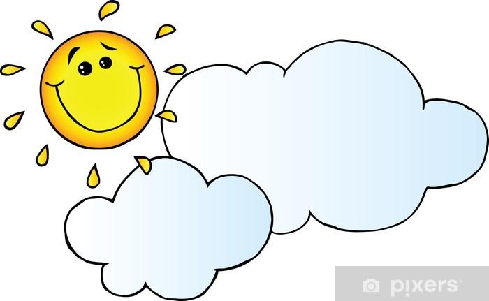 Bulut Karikatur Karakter Arkasinda Sun Gulen Duvar Resmi Pixers