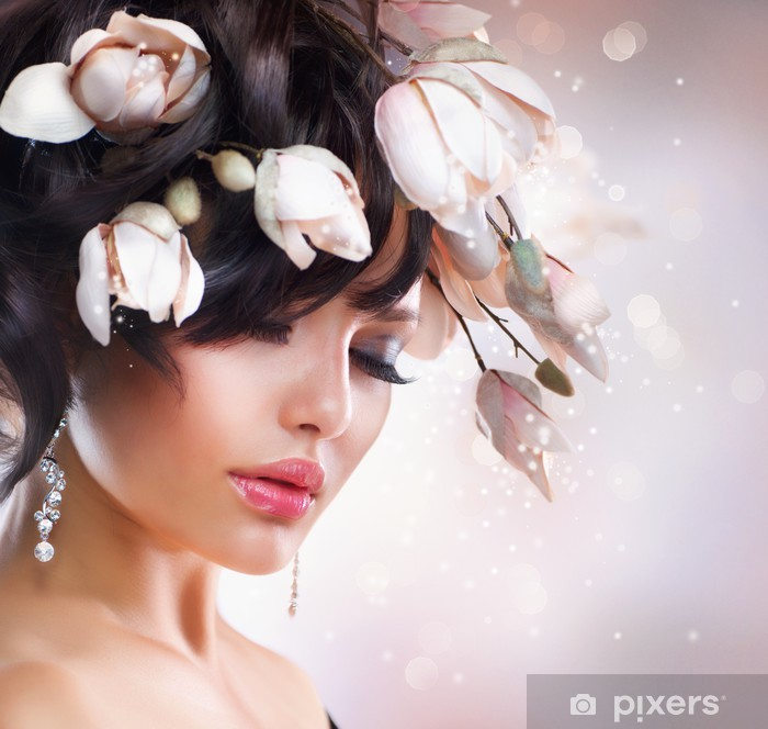Fashion Brunette Girl with Magnolia. Hairstyle. Pixerstick Sticker - Themes