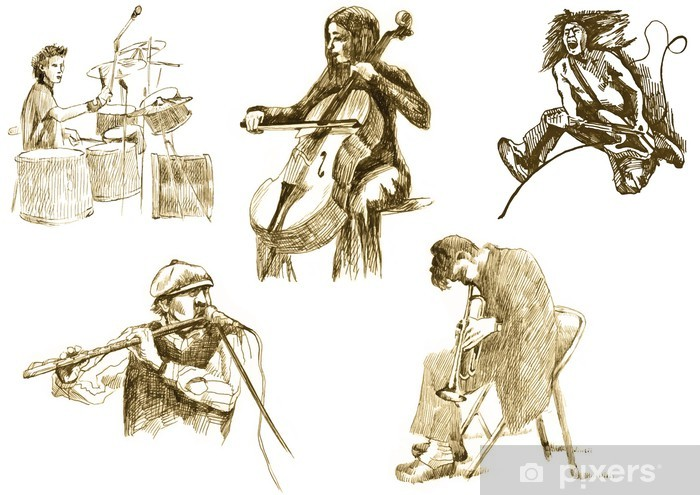 musicians with musical instruments,drawings converted to vector Pixerstick Sticker - Music