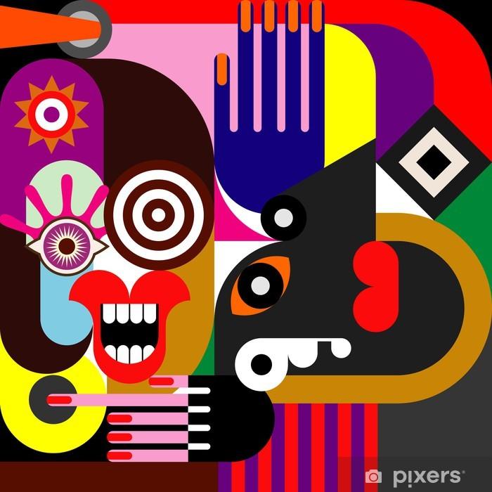 Pixerstick Sticker Twee vrouwen abstract portret - Thema's