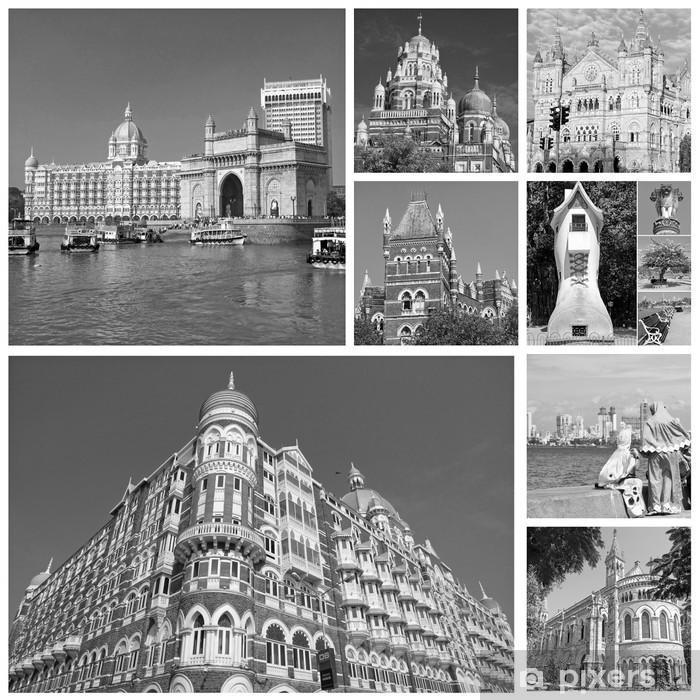 Naklejka Pixerstick Kolaż z zabytków miasta indian Mumbaju (dawniej Bombaj) - Azja