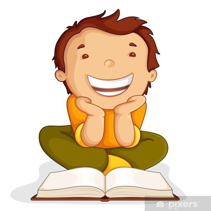 Açık Kitap Katta Oturan Okuma çocuk Vektör çizim Duvar Resmi