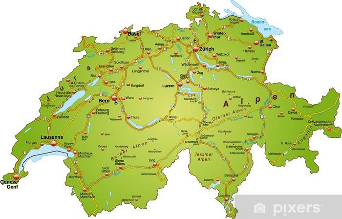 Landkarte Der Schweiz Mit Autobahnen Wall Mural Pixers We