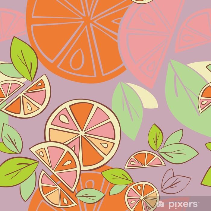 Plakat Pomarańczowy cytrusowych jasny wektor bezszwowe tło wzór - Posiłki