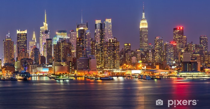 Vinyl Fotobehang Manhattan bij nacht -