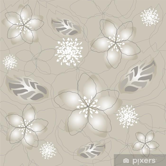 Aufkleber Nahtlose grau silber Blume Tapete - Pixerstick