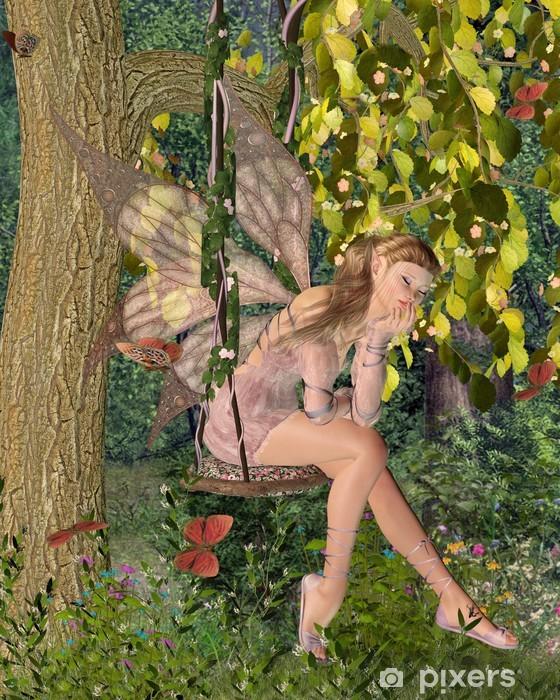 Pixerstick Sticker Vrij Roze Fee op een Woodland Swing - Andere Gevoelens