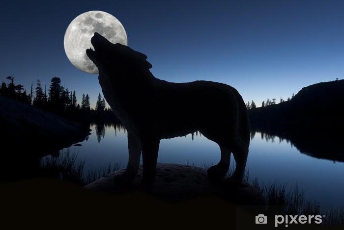Papier peint vinyle Silhouette de loup d'hurlement - Thèmes