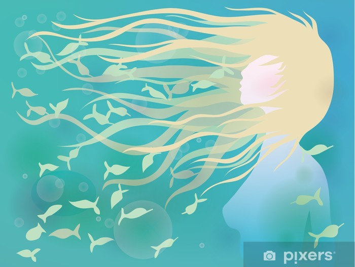 Woman with hair like waves / Azure summer background Vinyl Wall Mural - Styles