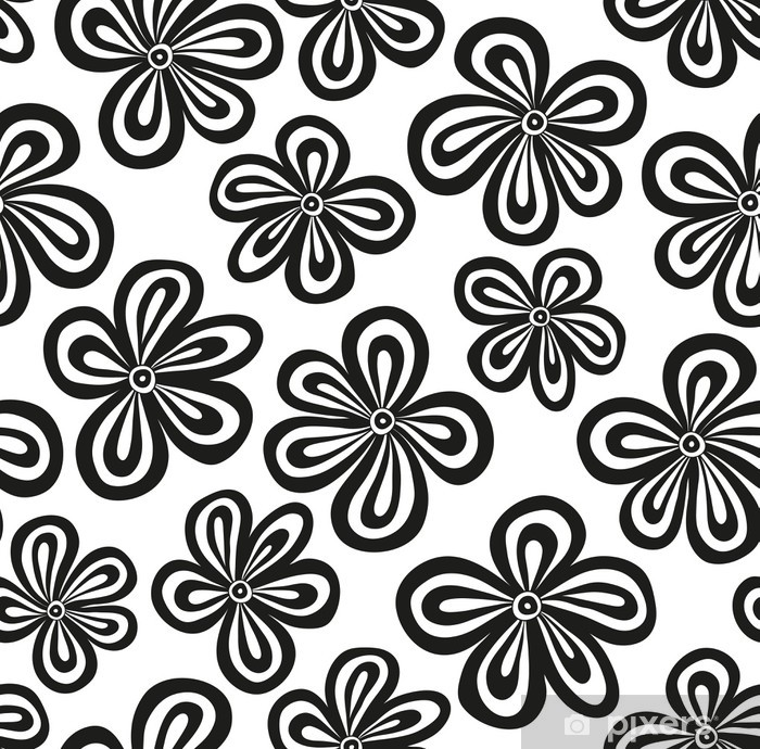 Seamless Black And White Floral Pattern Vector Wall Mural Pixers
