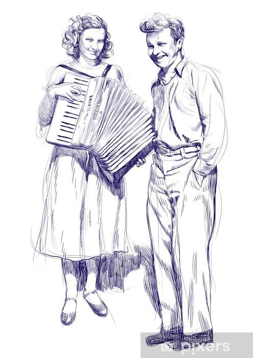 Papier Peint Femme Avec Un Accordéon Et Un Jeune Homme Dessin à La Main