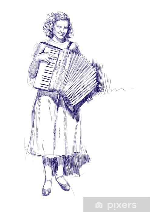 Dessin Accordéon papier peint femme avec un accordéon - dessins à la main • pixers