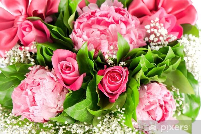 Papier peint vinyle Bouquet de roses roses et fleurs de pivoine - Fleurs