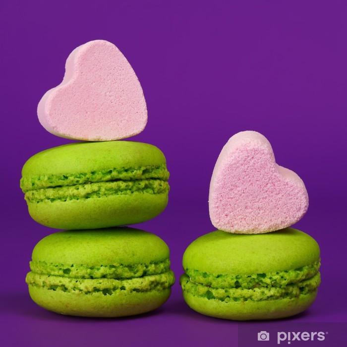 Plakat Macarons Pistache et en forme de bonbons coeur - Tematy