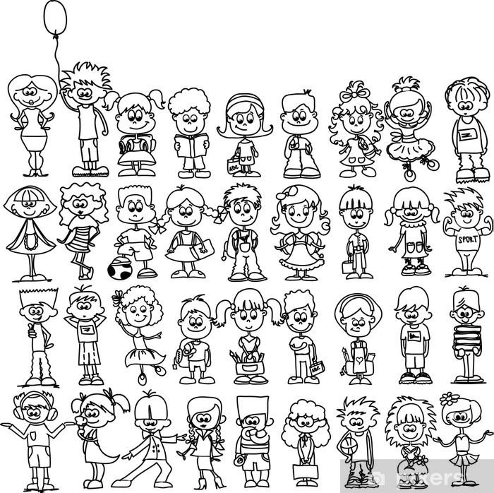 Póster Lindo Caricatura de niños felices - iStaging