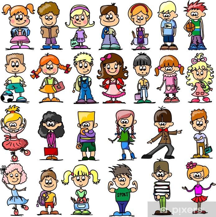Смазливая счастливые дети мультфильм Pixerstick Sticker - Children