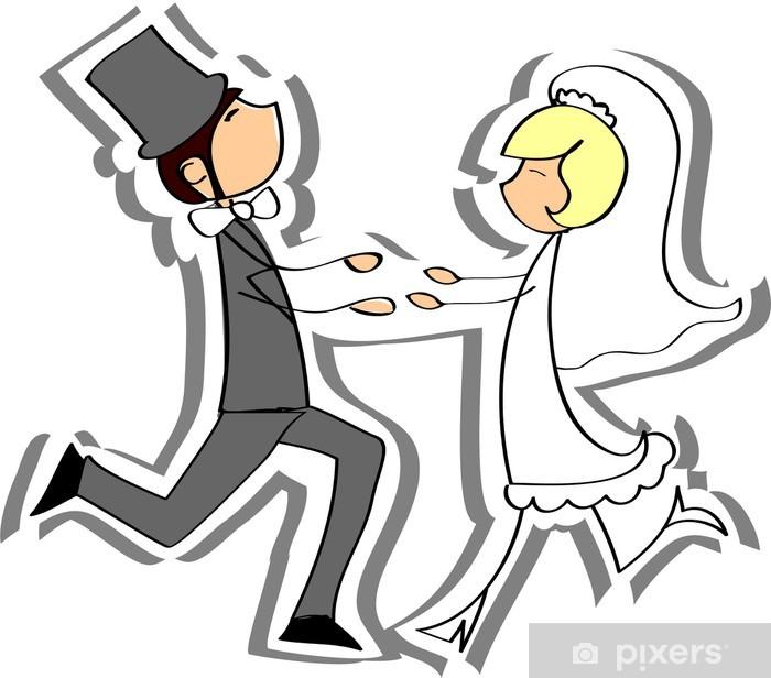 Papier peint vinyle Photos de mariage, la mariée et le marié dans l'amour, vecteur - Couples