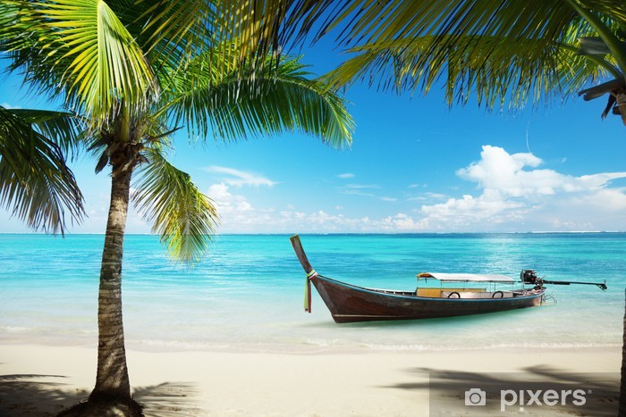 Fotomural Estándar Mar, palmeras y cocoteros barco - Temas