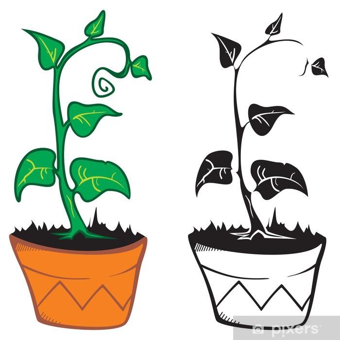 Nálepka Pixerstick Rostlina v hrnci - Rostliny
