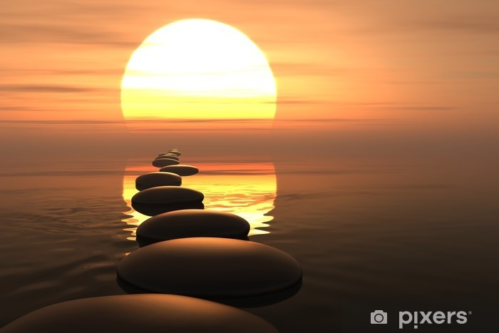 Zen path of stones in sunset Pixerstick Sticker - Styles