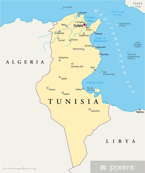 Tunesien Karte.Aufkleber Tunesien Karte Tunesien Landkarte Pixerstick