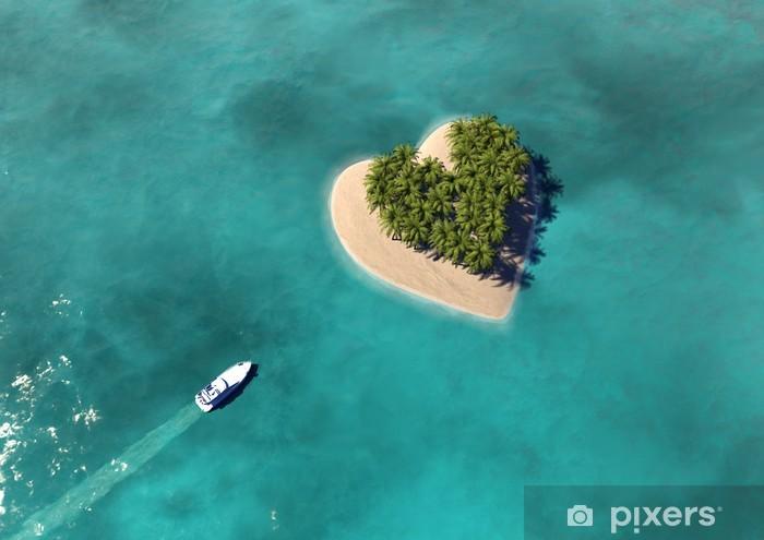 Sticker Pixerstick Heart Shaped Paradise Island - Vacances