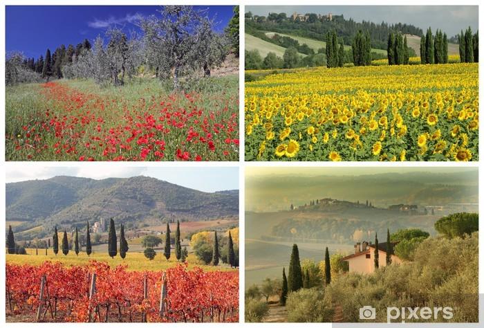Carta da Parati in Vinile Collage quattro stagioni con spettacolari immagini di paesaggi toscani, ho - Europa