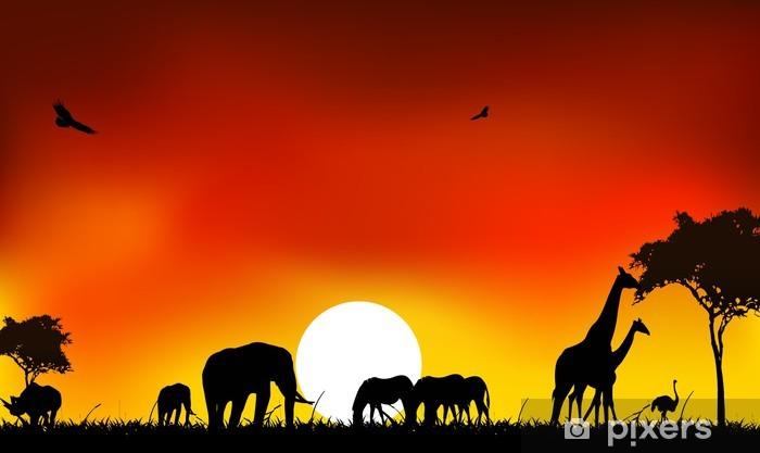 Vinyl Fotobehang Beautyful silhouet van dier wild leven met zonsondergang achtergrond - Thema's