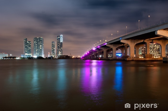 Vinylová fototapeta Miami Skyline v noci - Vinylová fototapeta