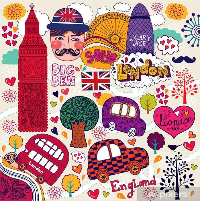 Papier peint vinyle Vector set de symboles Londres -