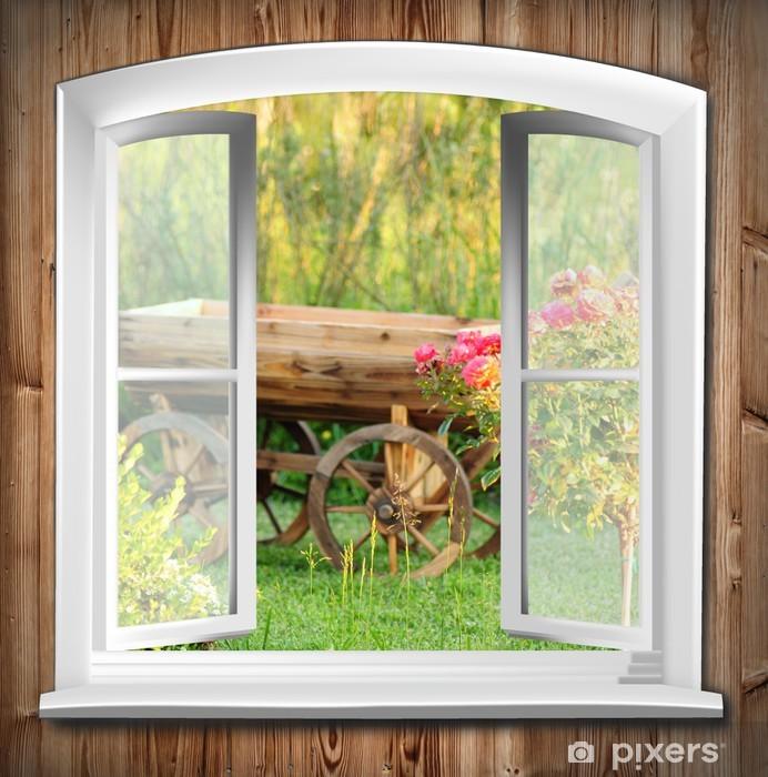 Sticker Pixerstick Fenêtres avec vue sur le jardin - Thèmes