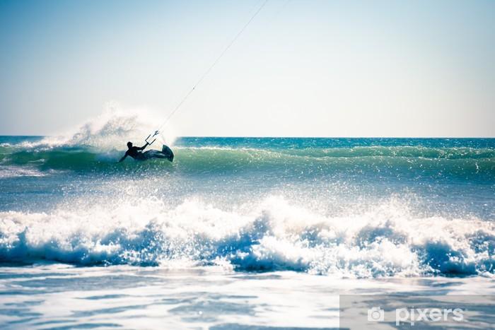 Pixerstick Sticker Kite surfen in de golven. - Watersporten