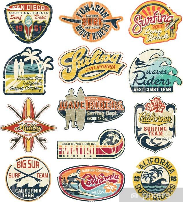 Papier peint vinyle Californie collection vintage grunge autocollants - Vacances