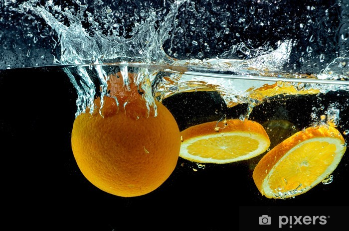Orange Fruit Splash on water Vinyl Wall Mural - Destinations