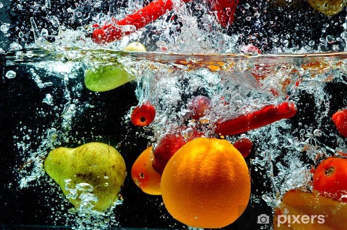 Pixerstick Sticker Diverse Fruit Splash op het water - Bestemmingen