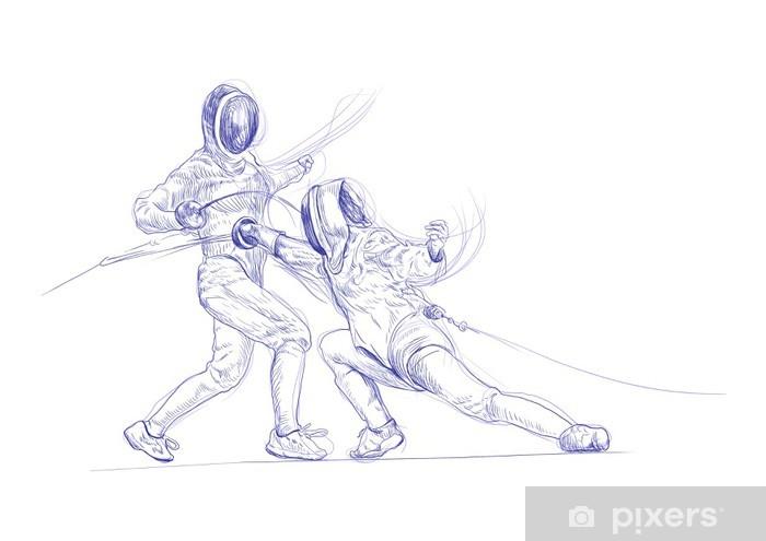 Papier peint vinyle Clôtures - photo dessin à la main - Sports individuels