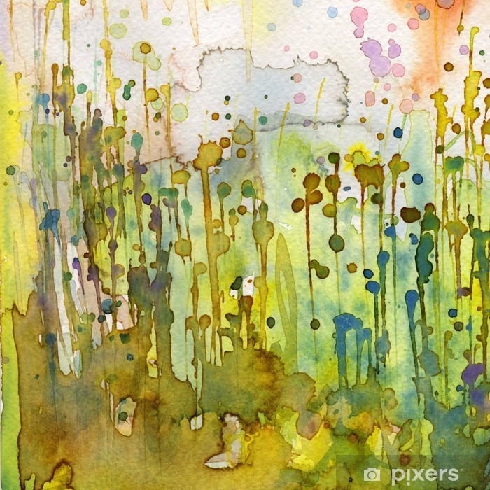 Zelfklevend Fotobehang Artistieke achtergrond aquarel, - Stijlen