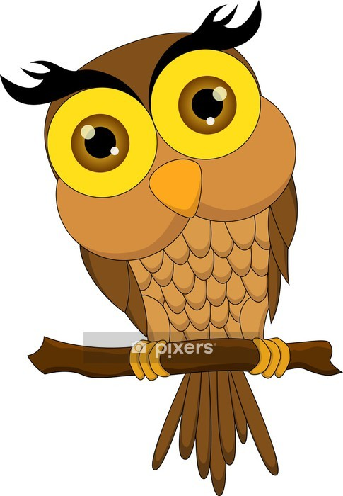 Cartoon Owl Sitting On Tree Branch Wall Decal Pixers We Live To