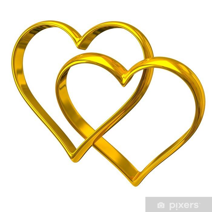 Plakat Dwa serca złote pierścienie kształt - Świętowanie