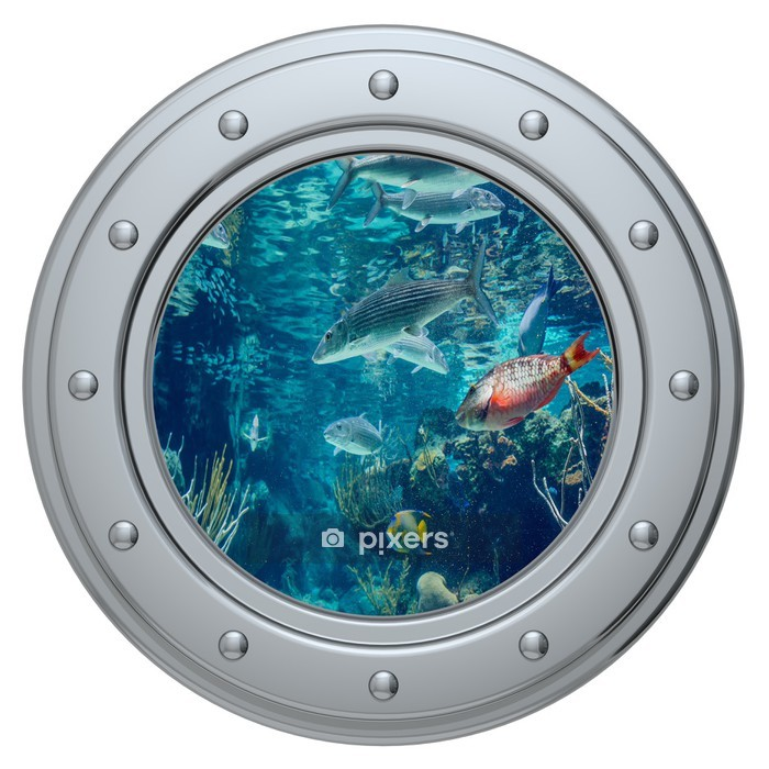 porthole on a white background Wall Decal -