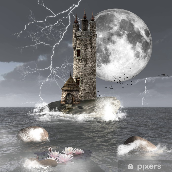 Fototapeta winylowa Fantasy krajobraz z ciemnym wieży - Księżyc