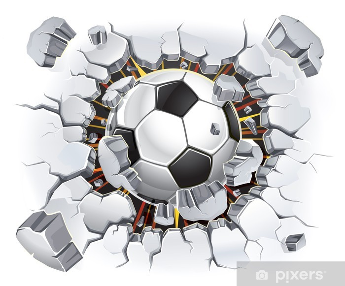 Soccer ball coming through a wall Self-Adhesive Wall Mural - Destinations