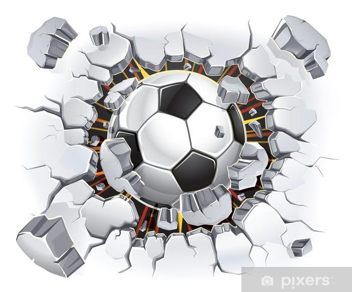 Soccer ball coming through a wall Vinyl Wall Mural - Destinations