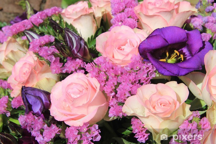 Pink And Purple Flower Arrangement Wall Mural Pixers We Live To