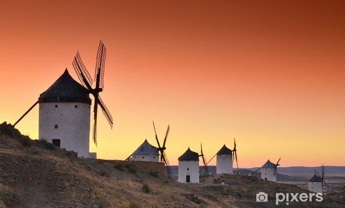Vinyl Fotobehang Windmolens in Consuegra, Spanje - Windmolens