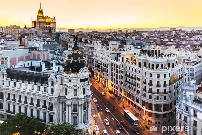 Panoramic view of Gran Via, Madrid, Spain. Vinyl Wall Mural - Themes